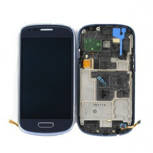 Samsung Galaxy S3 Mini I8190 - Full Front LCD Digitizer with Frame Blue (Refurbished)