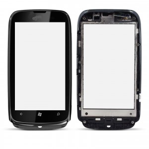 Nokia Lumia 610 - Front Glass Digitizer with Frame Black