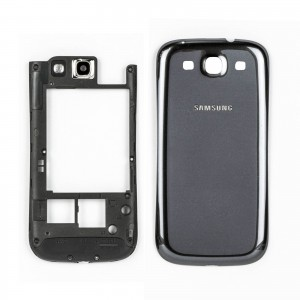 Samsung Galaxy S3 I9300 - Middle Frame + Battery Cover Black