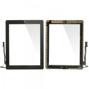 iPad 3/4 - Front Glass Digitizer With 3M Adhesive Sticker Black