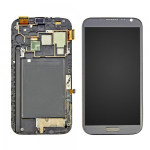 Samsung Note 2  N7100 - Full Front LCD Digitizer With Frame Grey