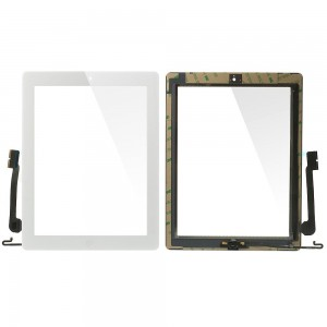 iPad 3/4 - Front Glass Digitizer With 3M Adhesive Sticker White