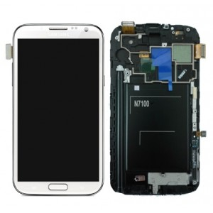Samsung Note 2 N7100 - Full Front LCD Digitizer with Frame White