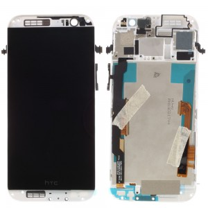 HTC One M8 - Full Front LCD Digitizer With Frame Grey