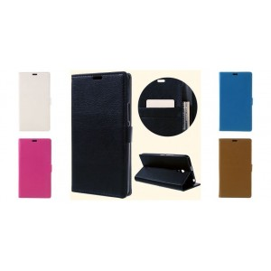 Alcatel Pixi 4 (6.0) - Litchi Texture Wallet Stand Leather Case