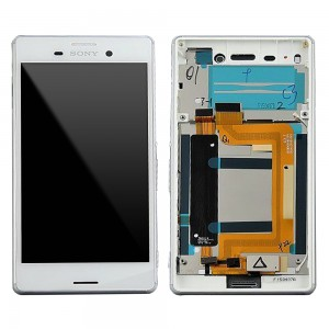 Sony Xperia M4 Aqua E2303, E2306, E2353 - Full Front LCD Digitizer With Frame White