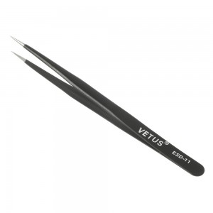 VETUS ESD 11 Anti-Static Steel Fine Tip Curved Tweezer