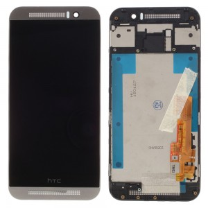 HTC One M9 - Full Front LCD Digitizer With Frame Silver