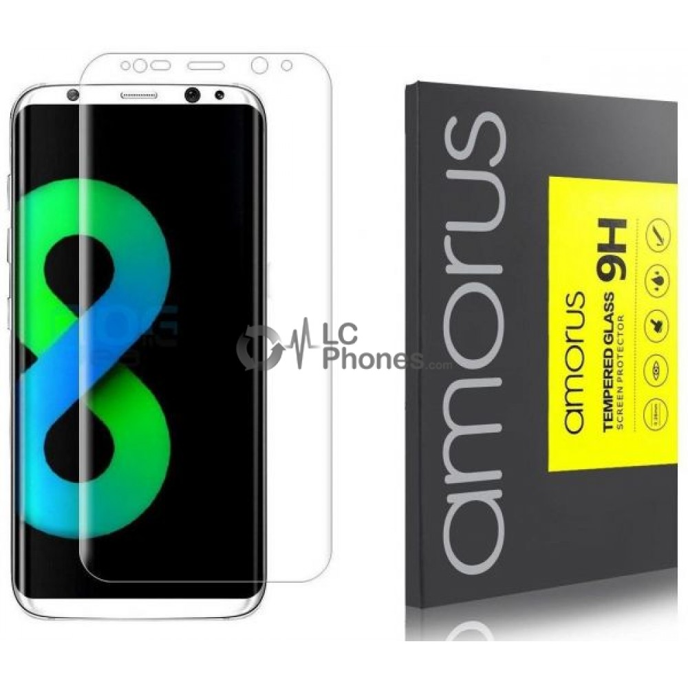 Samsung Galaxy S8 Plus - Amorus Silk Printing Tempered Glass Full Cuved 9H