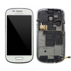 Samsung Galaxy S3 Mini I8190 - Full Front LCD Digitizer with Frame White (Refurbished)