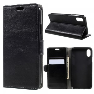 iPhone X - Crazy Horse Stand Leather Wallet Case