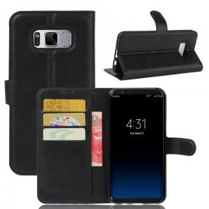 Samsung Galaxy S8 Plus G955 - Lychee Skin Wallet Leather Stand Case