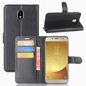 Samsung Galaxy J7 2017 J730 - Litchi Skin Wallet Leather Flip Case with Stand