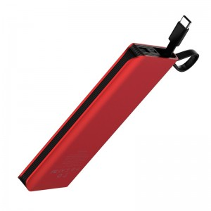HOCO - Power Bank J25B 10000mAh Single USB with Built-in Type-C Cable Red