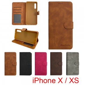 iPhone X / XS - Diaobaolee Wallet leather Case with 3 Card Slots