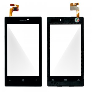 Nokia Lumia 520 - Front Glass Digitizer with Frame Black