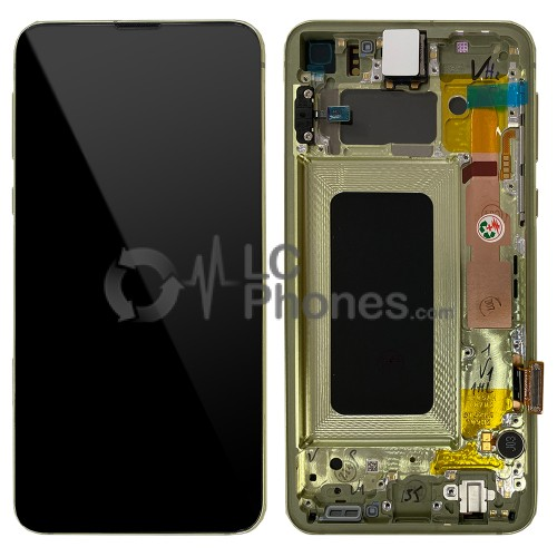 """Samsung Galaxy S10e G970F - Full Front LCD Digitizer With Frame Yellow """" Service Pack """""""