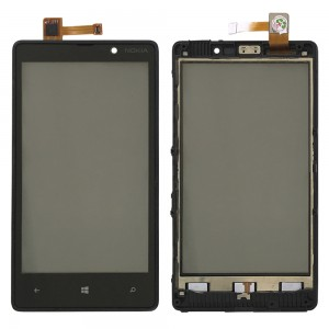 Nokia Lumia 820 - Front Glass Digitizer  with Frame Black